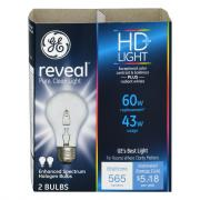 GE Reveal HD 43w (60w Equivalent) Halogen Bulb
