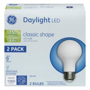 GE LED 10w (75w Replacement) Daylight Classic Shape Bulbs
