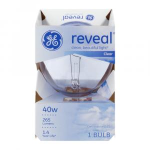 GE Reveal HD 40w Clear Round Decorative Bulb