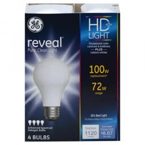 GE Reveal HD 72w (100w Replacement) Halogen Bulbs