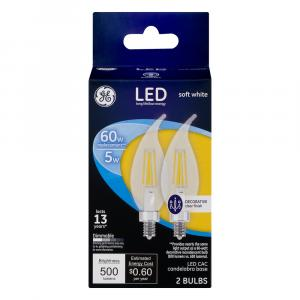 GE LED 5w (60w Replacement) Clear Decorative Candle Bulbs
