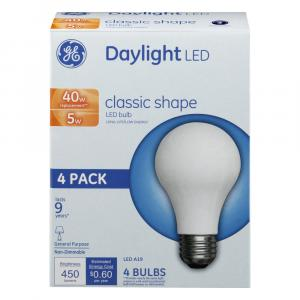 GE LED 5w (40w Replacement) Daylight Classic Shape Bulbs