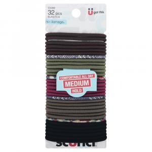 Scunci No Damage Medium Hold Elastics Dark Multi-Colored