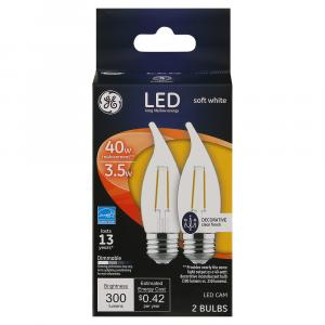 Ge Led 3.5w (40w Equivalent) Clear Decorative Candle Bulbs