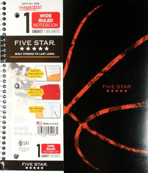 Mead Five Star Notebook Wide Rule 100 Sheet