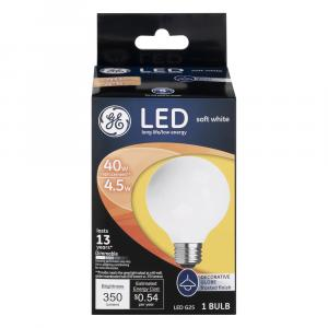 GE LED 4.5w Soft White Frosted Globe