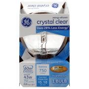 GE 60w Crystal Clear Energy Efficient Round Incandescent