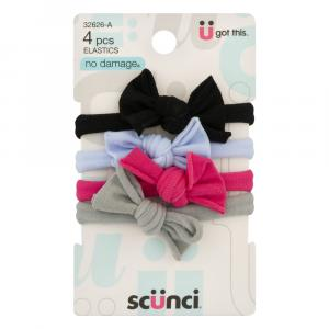 Scunci No Damage Bow Elastics Multi-Colored