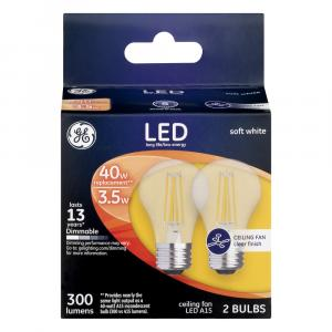 GE LED 3.5w (40w Replacement) Clear Ceiling Fan Bulbs