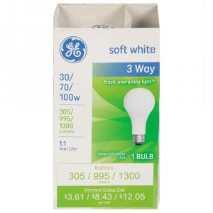 GE 30/70/100W Soft White 3-Way Bulb