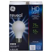 GE Reveal HD 53w (75w Equivalent) Halogen Bulbs