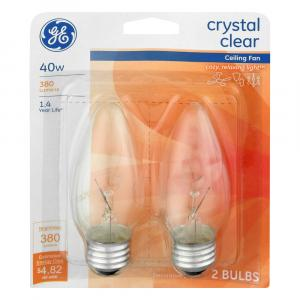 GE 40w Crystal Clear Ceiling Fan Bulbs