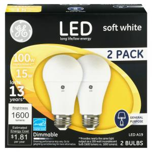 GE LED 15w (100w Replacement) Soft White Dimmable Bulbs