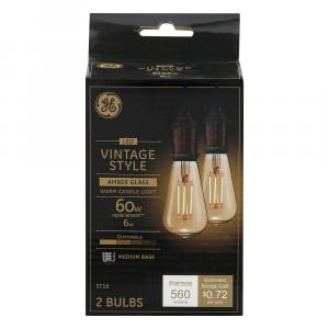 GE LED Vintage Style 6w (60w Replacement) Amber Glass Bulbs