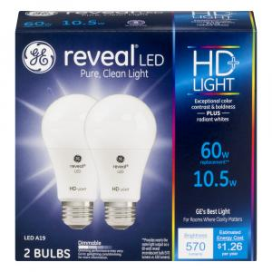 GE LED Reveal HD 10.5w (60w Replacement) Bulbs