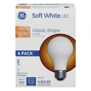 GE LED 5w (40w Replacement) Soft White Classic Shape Bulbs