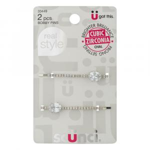 Scunci Real Style Bobby Pins Cubic Zirconia Oval