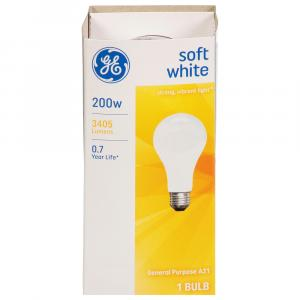 GE 200w Soft White General Purpose Bulb