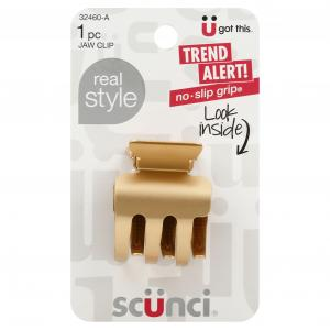 Scunci Real Style No Slip Grip Jaw Clip
