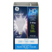 GE Reveal HD 30/70/100w 3 Way Bulb
