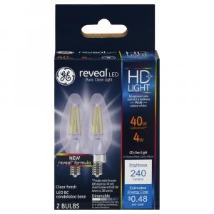 GE LED Reveal HD 4w Clear Candle Bulbs