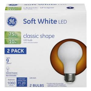 GE LED 10w (75w Replacement) Soft White Classic Shape Bulbs