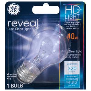 GE Reveal HD 40W Clear Vibration Resistant Bulb