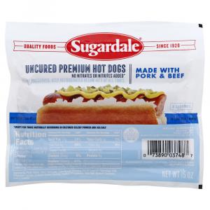 Sugardale Uncured Premium Hot Dog with Pork & Beef
