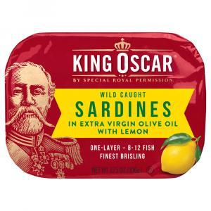 King Oscar Sardines in Extra Virgin Olive Oil with Lemon
