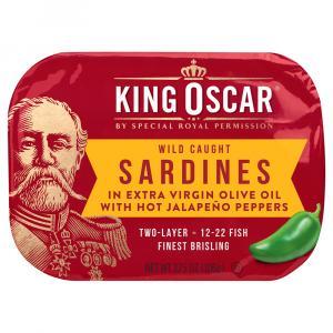 King Oscar Sardines In Extra Virgin Olive Oil Hot Jalapenos