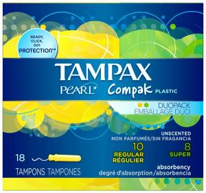 Tampax Compak Pearl On The Go 8 Super & 10 Regular Tampons