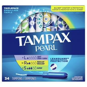 Tampax Pearl Triple Pack Unscented Tampons