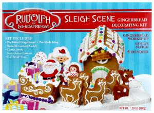Rudolph the Red-Nosed Reindeer Sleigh Scene Gingerbread Kit
