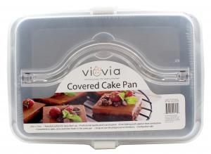 Non-Stick Covered Cake Pan with Plastic Lid