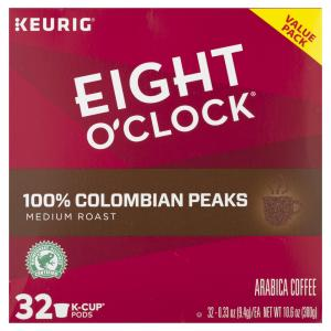 Eight O' Clock 100% Colombian Peaks Coffee K-Cup Pods