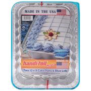 "Handi-foil Fun Colors 13"" x 9"" Cake Pans with Blue Lids"