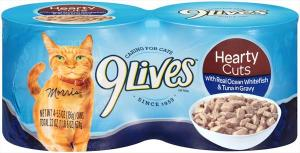 9lives Hearty Cuts With Ocean Whitefish & Tuna In Gravy