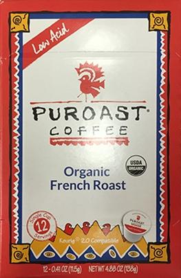Puroast Coffee Organic French Roast Single Serve Cups