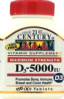 Twenty-first Century Vitamin D 5000 Iu Tablets