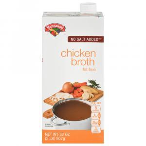 Hannaford No Salt Added Fat Free Chicken Broth