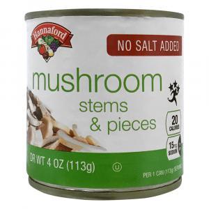 Hannaford No Salt Added Mushrooms Stems & Pieces