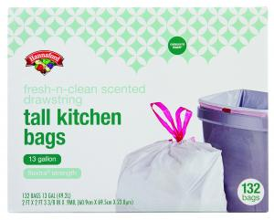 Hannaford Fresh Scented Drawstring Tall Kitchen Trash Bags