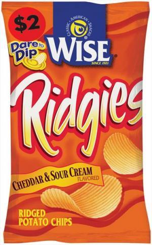 Wise Cheddar & Sour Cream Ridgies Potato Chips