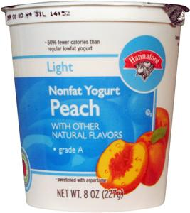 Hannaford Light Nonfat Peach Yogurt