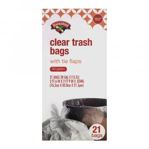 Hannaford Clear Trash Bags With Tie Flaps