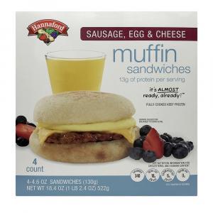 Hannaford Sausage, Egg & Cheese Muffin Sandwiches