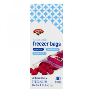 Hannaford Reclosable Quart Freezer Bags