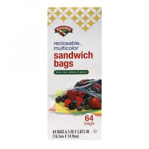 Hannaford Reclosable Multicolor Sandwich Bags