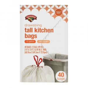 Hannaford Drawstring Tall Kitchen Bags with Odor Guard