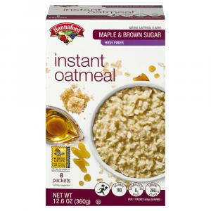 Hannaford High Fiber Maple Brown Sugar Oatmeal